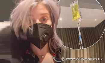 Kelly Osbourne is on an IV drip as she battles bronchitis