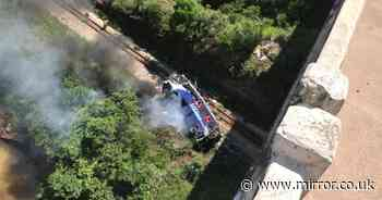 At least 10 dead and around 30 injured after 'tour bus' plummets off 50ft bridge