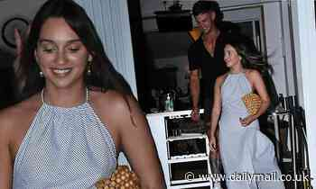 Bella Varelis enjoys wild night out with Bachelor stars in a backless dress