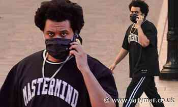 The Weeknd chats on the phone during a holiday shopping excursion in Beverly Hills