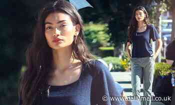 Is everything okay? Kelly Gale looks downcast on set of a photoshoot in West Hollywood
