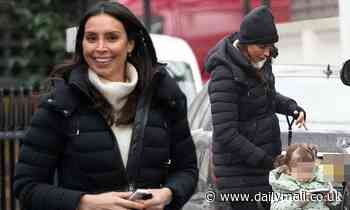 Christine Lampard steps out with daughter Patricia, 2, and pet dog Minnie in London