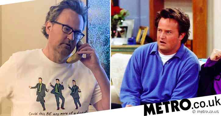 Friends star Matthew Perry rocks Chandler Bing shirt and could it BE any more iconic?