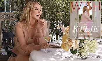 Kylie Minogue stuns in a soft pink chiffon dress for Wish magazine