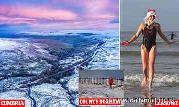 Brave swimmers take a dip ice cold in water and walkers enjoy stroll in the snow