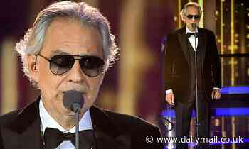Andrea Bocelli, 62, cuts a dapper figure as he performs at children's charity gala in Berlin