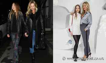 Kate Moss and her mini-me daughter Lila Grace, 18, head to Mayfair club Oswald's as lockdown ends