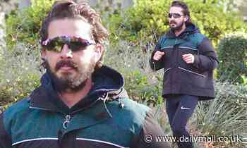 Shia LaBeouf takes a brisk Saturday morning jog amid the renewed stay-at-home order in LA county