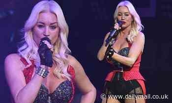 Denise Van Outen turns up the heat in a glittery corset and suspenders at her cabaret show