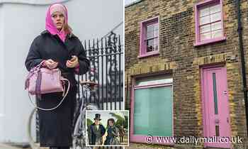 Alice Eve steps out in the same colour socks, bag, hoodie and hat - and even has a pink HOUSE