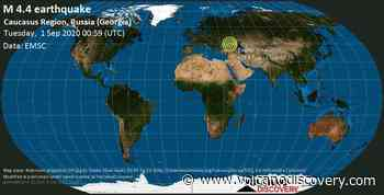 Quake info: Mag. 4.4 earthquake - 9.5 km north of Tuapse, Tuapsinsky District, Krasnodarskiy kray, Russia, Georgia, on Tuesday, 1 September 2020 at 00:59 (GMT) - 24 user experience reports - VolcanoDiscovery