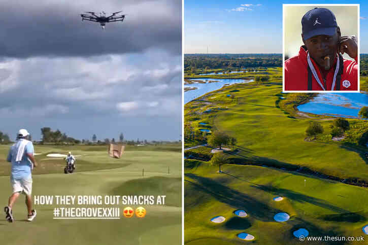 Watch as Michael Jordan's drones fly booze and snacks to golfers on his private course leaving Wozniacki stunned