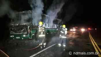 Ônibus pega fogo em Palmitos e motorista escapa ileso - ND - Notícias