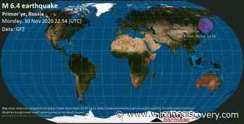 Strong mag. 6.4 earthquake - Tatar Strait, 89 km southeast of Sovetskaya Gavan', Gorod Sovetskaya Gavan', Khabarovsk, Russia, on Tuesday, 1 Dec 7:54 am (GMT +9) - 5 user experience reports - VolcanoDiscovery