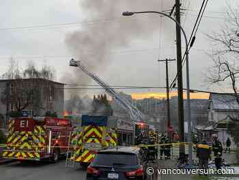 Crews battle fire in New Westminster Wednesday morning