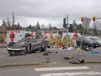 Attempted traffic stop preceded Coquitlam crash that flipped over Brunette off-ramp