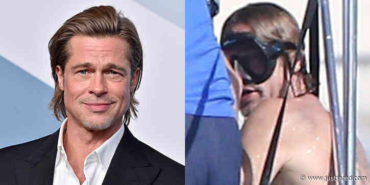 Brad Pitt Puts Back Tattoos on Display During Turks & Caicos Vacation