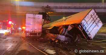 Man in life-threatening condition after transport truck crash on Hwy. 401 in Toronto