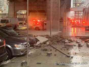 Explosion near Vancouver House throws chunks of concrete and pavers onto cars, chandelier undamaged