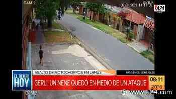 Un nene quedó en medio de un asalto motochorro en Gerli - a24.com
