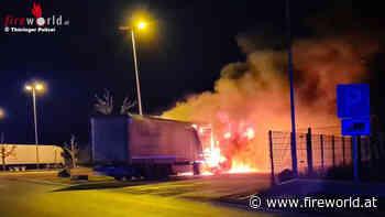 D: Lkw-Brand mit Schwerverletztem auf Rastanlage der BAB 4 bei Waltershausen - Fireworld.at