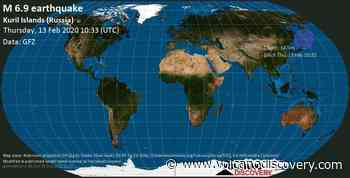 Strong mag. 6.9 earthquake - Sea of Okhotsk, 29 km northeast of Ostrov Shlem Island, Sakhalin Oblast, Russia, on Thursday, 13 February 2020 at 10:33 (GMT) - 25 user experience reports - VolcanoDiscovery