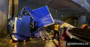 Driver arrested after semi-truck crashes, hits overpass at Ironworkers Memorial Bridge