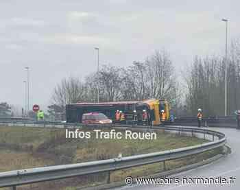 Un poids-lourd couché sur l'A13, près de Oissel : une déviation mise en place - Paris-Normandie