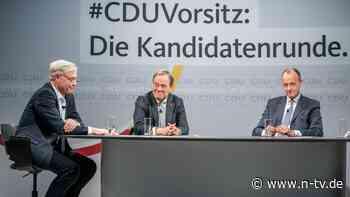 CDU-Vorsitzkandidaten befragt: Drei Männer in blau sind sich nicht grün