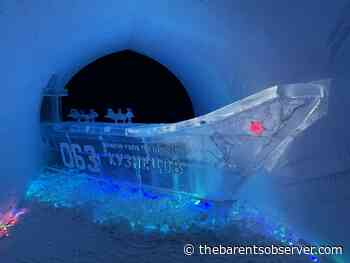 Aircraft carrier ice model on display in Kirovsk snow village - The Independent Barents Observer