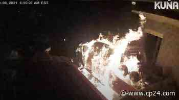 Suspect caught on camera lighting tow truck on fire in Ajax - CP24 Toronto's Breaking News