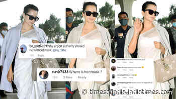 Kangana Ranaut gets trolled for ditching mask at Mumbai airport