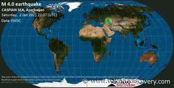 Quake info: Mag. 4.0 earthquake - Caspian Sea, Azerbaijan, 3 km northeast of Derbent, Dagestan Republic, Russia, on Sunday, 3 Jan 1:07 am (GMT +3) - 4 user experience reports - VolcanoDiscovery