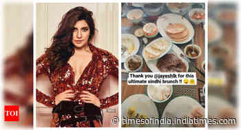 Anushka relishes a Sindhi feast at home