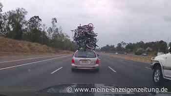 """Mann stapelt haufenweise Fahrräder auf Dach von Hyundai: """"Durch einen Fahrradtrupp gefahren"""""""