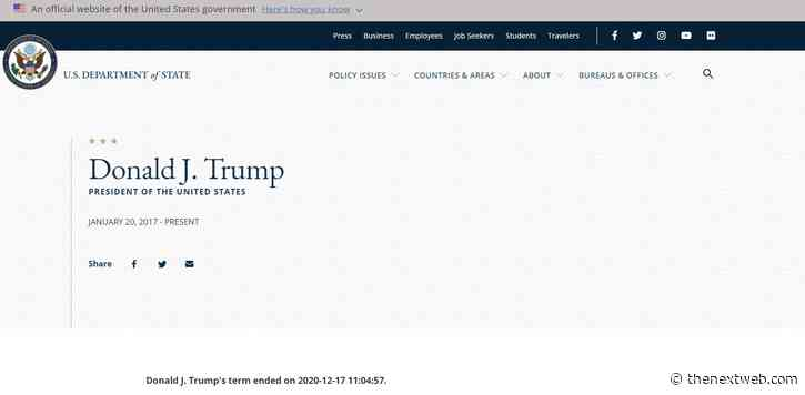 Here's why the US State Department website says Donald Trump's 'term ended' on 11 January
