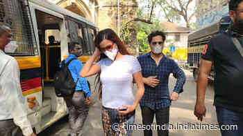 Poonam Pandey spotted at Azad Maidan Police Station in Mumbai