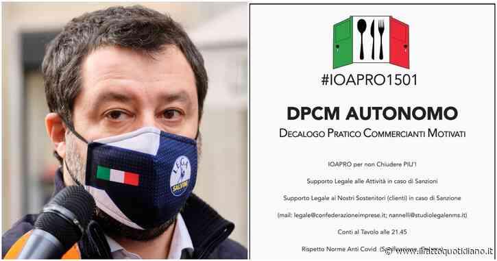 """""""Io apro"""": chi sono i ristoratori anti-Dpcm ora sostenuti dalla Lega. La Fipe-Confcommercio: """"Mai iniziative illegali, confronto istituzionale"""""""