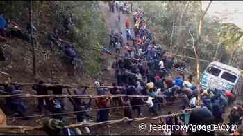 Villagers in India rescue truck after 70 foot gorge tumble