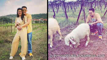 Newlyweds Aditya Narayan-Shweta Agarwal enjoy a getaway in Sula Vineyards