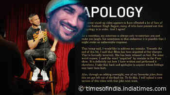 Comedian Daniel Fernandes issues an apology to Sushant Singh Rajput's fans for joking about late actor's death