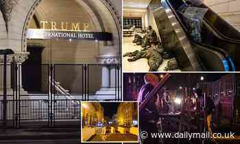 DC hunkers down: National Guard troops rest and unscalable fence is erected at Trump Hotel