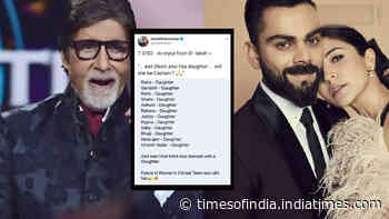 Amitabh Bachchan makes an interesting observation about power couple Virat Kohli-Anushka Sharma's baby girl and cricket