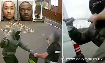 Cash security guard attacked by thug armed with 18 inch machete as two men jailed over robberies