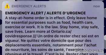 Stay-at-home emergency alert message sent to Ontarians