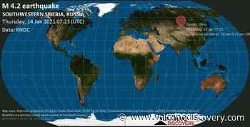 Quake info: Mag. 4.2 earthquake - 582 km northwest of Irkutsk, Irkutskiy Rayon, Irkutsk Oblast, Russia, on Thursday, 14 Jan 2021 3:23 pm (GMT +8) - 2 user experience reports - VolcanoDiscovery