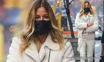 Kelly Bensimon, 52, shows off endless legs in skintight off-white trousers while out with gal pals