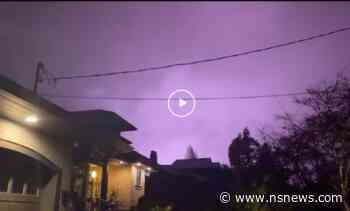 Video captures wild purple and blue flashes in Metro Vancouver sky (VIDEO) - North Shore News