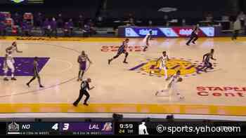 Zion Williamson with an alley oop vs the Los Angeles Lakers