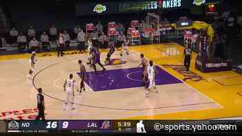 Brandon Ingram with an and one vs the Los Angeles Lakers